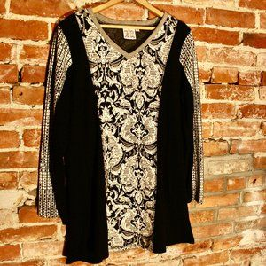 Parsley & Sage Embroidered Cotton Blend Knit Tunic
